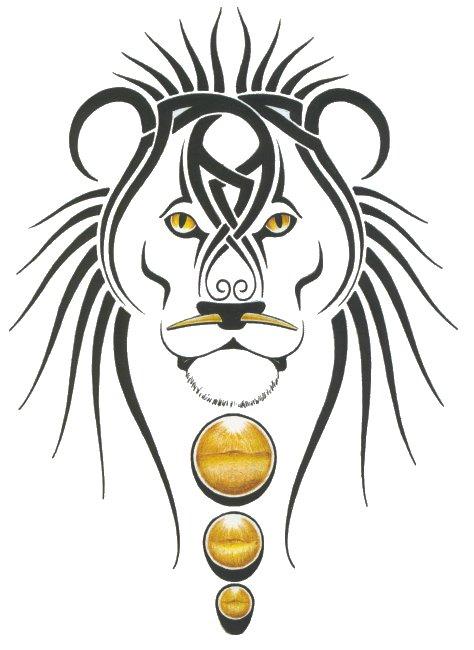 Эскиз тату лев с узорами