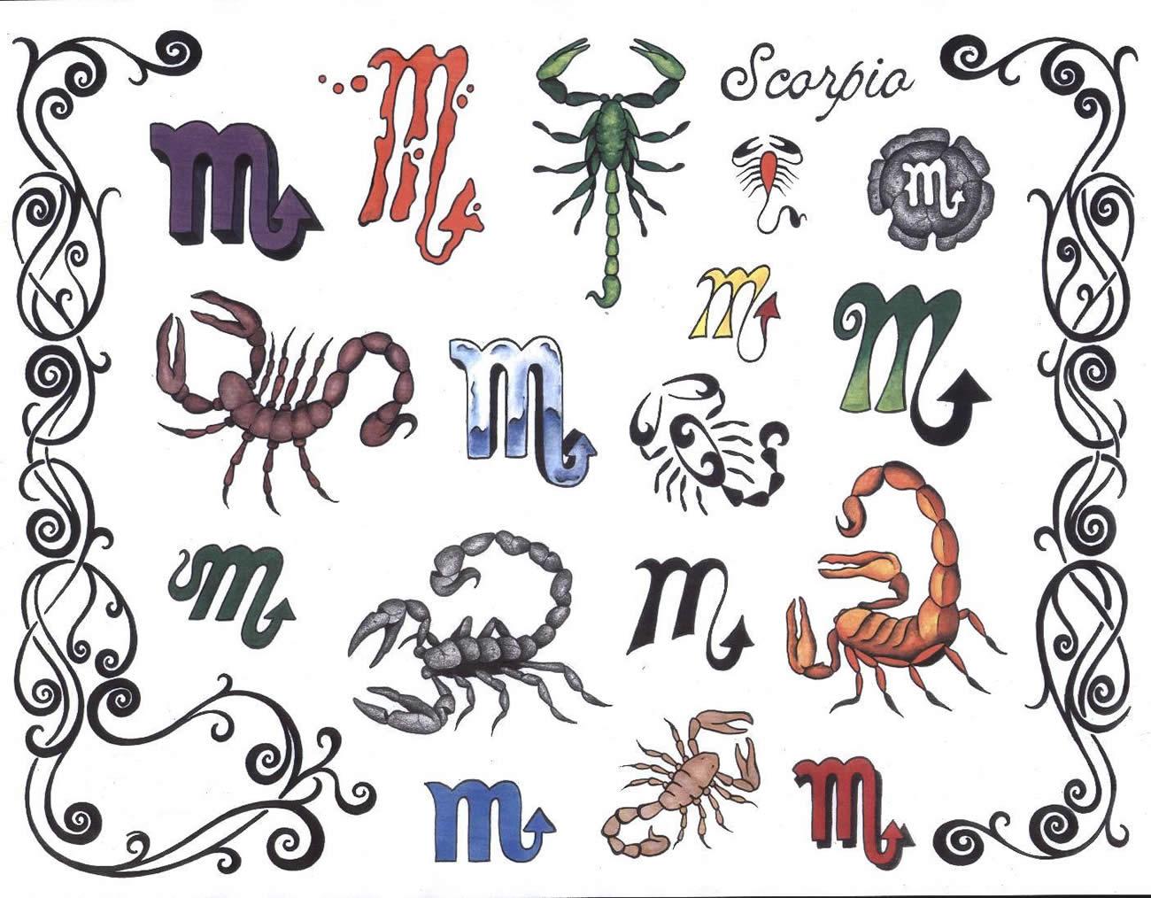 Татуировки скорпиона (знак зодиака СКОРПИОН) - флеш эскизы, картинки